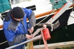 Paul fixing the trap collar. This stops the rig taking off!