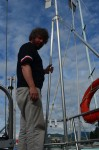 Steph is checking for the wind generator. He thinks the bearings are needing replacing:-(