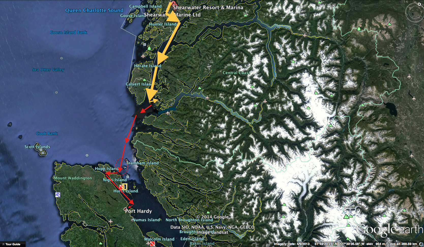 shearwater to Port Hardy