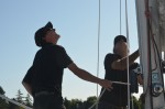 Gabi and crew getting a work out hauling me to the mast head